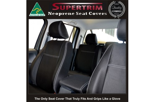 Seat Covers Front Pair Full-back With Map Pockets & Rear Snug Fit for Volkswagon Amarok Mar 2011 - Now , Premium Neoprene (Automotive-Grade) 100% Waterproof